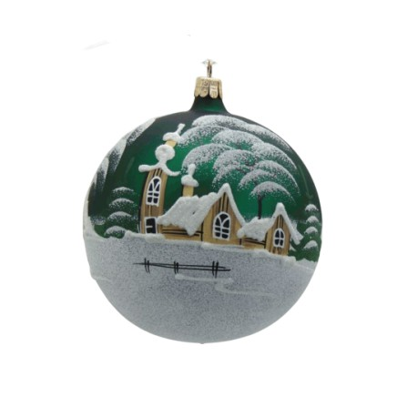 Christmas ornament, ball 80mm, church and wooden house www.sklenenevyrobky.cz