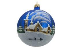Vánoční ozdoba koulička 80 mm kostelíček a roubenka modrá