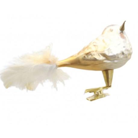 Vánoční ozdoba s klipsem, ptáček, kardinál 399, zlatý