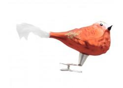 Vánoční ozdoba s klipsem, ptáček, kardinál 399, oranžový