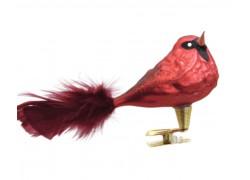 Vánoční ozdoba s klipsem, ptáček, kardinál 399, červený