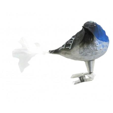 Vánoční ozdoba s klipsem, ptáček, kardinál 399, modrý
