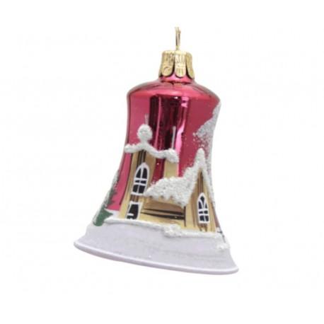 Vánoční ozdoba, zvoneček 1895, se zasněženým kostelem, tmavě červená