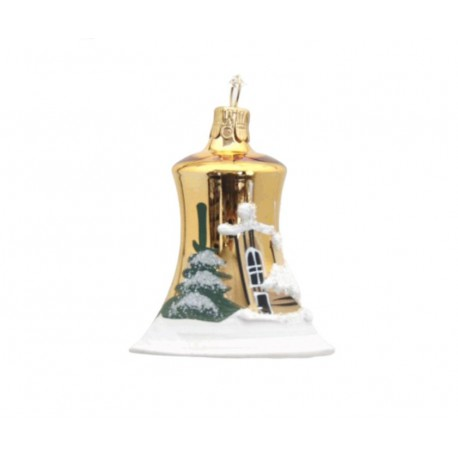 Vánoční ozdoba, zvoneček 1895, se zasněženým kostelem, zlatá