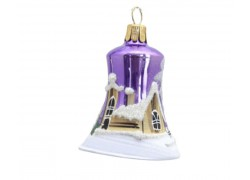 Vánoční ozdoba, zvoneček 1895, se zasněženým kostelem, fialová