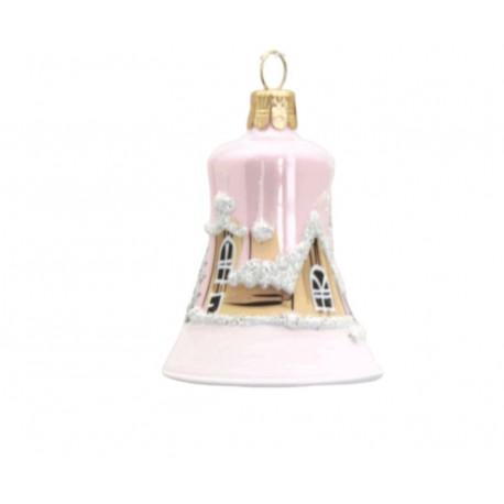 Vánoční ozdoba, zvoneček 1895, se zasněženým kostelem, světle růžová