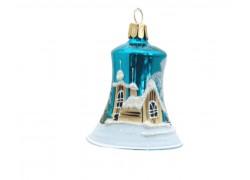 Vánoční ozdoba, zvoneček 1895, se zasněženým kostelem, modozelená