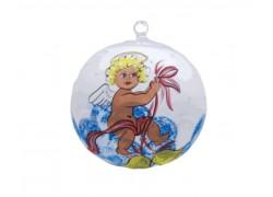 Vánoční ozdoba, koule, s průhledem, andílek váže mašli, bílá