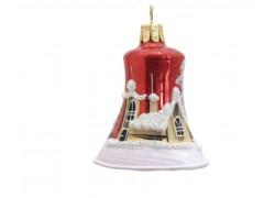 Vánoční ozdoba, zvoneček 1895, se zasněženým kostelem, červená