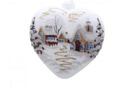 Vánoční ozdoba, srdce velké lux motiv se zimním dekorem
