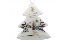 Vánoční ozdoba, stromeček lux motiv se zimním dekorem