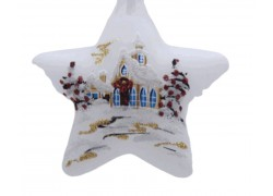 Vánoční ozdoba, hvězda, lux motiv 14x14cm