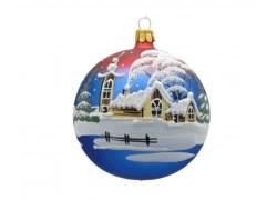 Vánoční ozdoba, koule lux motiv, chalupy se zvoničkou, červeno modrá