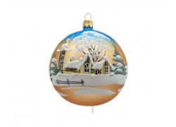 Vánoční ozdoba, koule lux motiv, chalupy se zvoničkou, modro zlatá