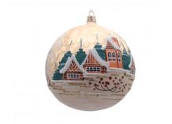 Vánoční ozdoba koule 150mm lux motiv, chalupy se zvoničkou, zlatá