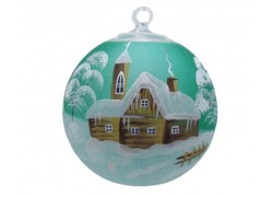 Vánoční ozdoba, koule, s průhledem, zasněžená chalupa, zelená
