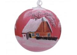 Vánoční ozdoba, koule, s průhledem, zasněžená chalupa, červená
