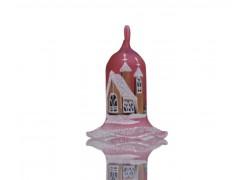 Vánoční zvonek na svíčku, s chaloupkou, červená