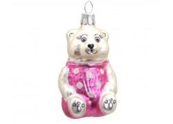Vánoční ozdoba, medvídek v růžovém triku s puntíky