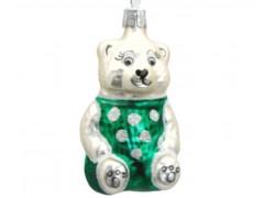 Vánoční ozdoba, medvídek v zeleném triku s puntíky
