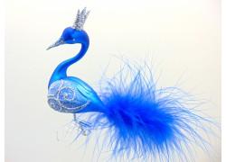 Christmas swan, Christmas ornament - blue mat 1555 silver decor www.sklenenevyrobky.cz