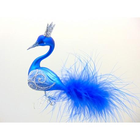Christmas ornament Blue Swan www.sklenenevyrobky.cz