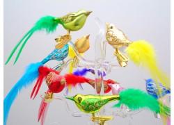 Bird small Christmas ornament set 12pcs 13-16x4x2,5cm www.sklenenevyrobky.cz