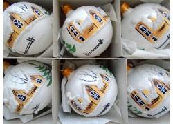 Christmas balls - set of 6 painted balls 6cm, white www.sklenenevyrobky.cz