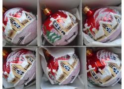 Christmas balls - set of 6 painted balls 6cm, red, glitter www.sklenenevyrobky.cz