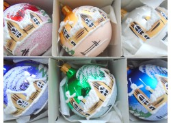 Christmas balls - set of 6 painted balls 6cm, mix of colors www.sklenenevyrobky.cz