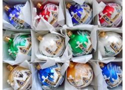 Vánoční ozdoby sada 12 malovaných kouliček 6cm