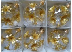 Christmas balls 8cm, Christmas set 6pcs, golden lilies www.sklenenevyrobky.cz