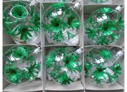 Christmas ball 8cm, christmas set 6pcs, green lilies www.sklenenevyrobky.cz