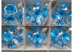 Christmas set of glass ornaments, balls 8cm, 6pcs, blue lilies www.sklenenevyrobky.cz