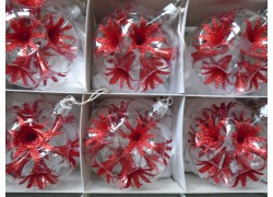 Christmas set of glass ornaments, balls 8cm, 6pcs, red lilies www.sklenenevyrobky.cz