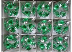 Christmas set of glass ornaments, ball 8cm, 12pcs, green lilies www.sklenenevyrobky.cz