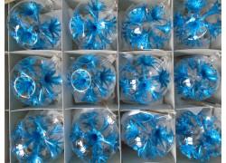 Christmas set of glass ornaments, balls 8cm, 12pcs, blue lilies www.sklenenevyrobky.cz
