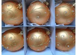 Vánoční ozdoby sada 6 kouliček 7cm decor paví brk losově zlatá
