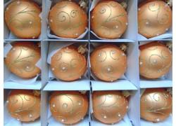 Vánoční ozdoby sada 12 kouliček 6cm decor páv losově zlatá
