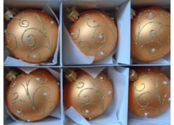 Christmas set - 8cm balls, 6pcs salmon-gold, in decor of peacock pens www.sklenenevyrobky.cz
