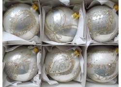 Christmas balls - set of 6 Christmas decorated balls 8cm, white-silver