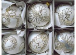 Christmas decorations set of 6 painted balls 8cm