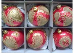 Christmas balls - set of 6 Christmas decorated balls 8cm, red