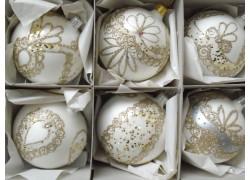 Christmas balls - set of 6 Christmas decorated balls 8cm, white