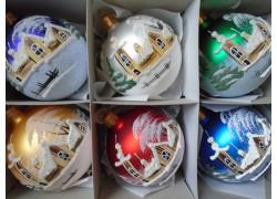 Vánoční ozdoby sada 6 malovaných kouliček 8cm