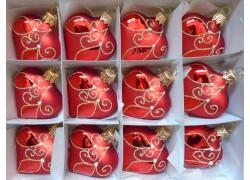 Vánoční ozdoba , srdíčko červené , sada 12ks