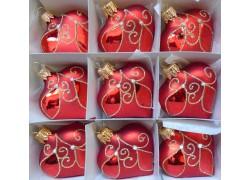 Vánoční ozdoba , srdíčko červené, sada 9 ks 3032
