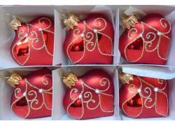 Vánoční ozdoba , srdíčko červené, sada 6 ks 3032