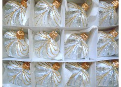 Christmas ornament, heart small, set of 12 pcs 828, white frost www.sklenenevyrobky.cz