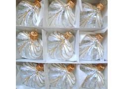 Christmas ornament, little heart, 9pcs, white frost, curtain www.sklenenevyrobky.cz